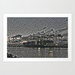 Netherlands Rotterdam Harbour Artistic Illustration Bubble Wrap Style Art Print