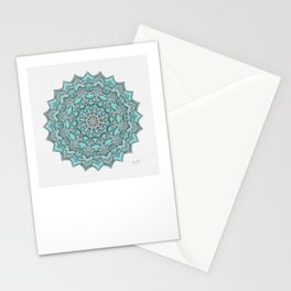12-Fold Mandala Flower in Turquoise Stationery Cards