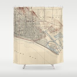 Vintage Map of Long Beach California (1923) Shower Curtain