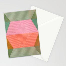 Geo Lines - Peach & Sage Stationery Cards