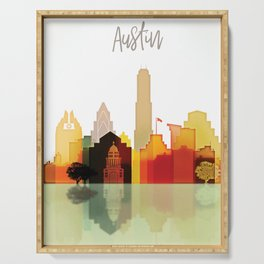 Austin colorful skyline Serving Tray