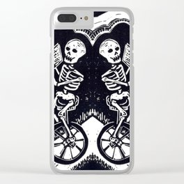 Unicycle Skeletons Clear iPhone Case