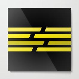 Yellow lines on black background Metal Print