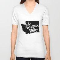 washington V-neck T-shirts featuring Washington State by Caleb Swenson