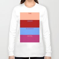 the grand budapest hotel Long Sleeve T-shirts featuring Grand Budapest minimalist poster by cinemaminimalist