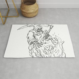 The Grim Reaper Rolling the Dice Drawing Black and White Rug