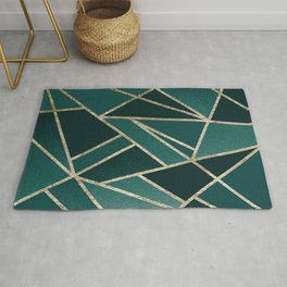 Classic Teal Champagne Gold Geo #1 #geometric #decor #art #society6 Rug