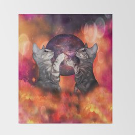 The Silver Marble Oracle Kitty Cats of the Kittyverse Throw Blanket