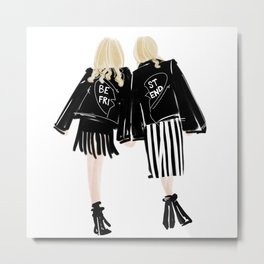 Fashionable Best Friend Holding Hand Metal Print