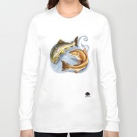 trout Long Sleeve T-shirts featuring Trout and Redfish  by Mantas
