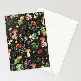 Watercolor Forest Mushrooms, Leaves, Flowers Stationery Cards