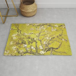 Vincent van Gogh Blossoming Almond Tree (Almond Blossoms) Gold Sky Rug