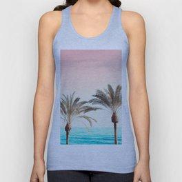 Modern California Vibes pink sky blue seascape tropical palm tree beach photography Unisex Tank Top