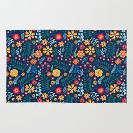 "Cute Floral pattern of small flowers. ""Ditsy print"". Rug"