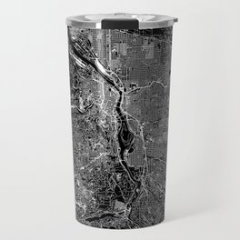 Portland Black Map Travel Mug