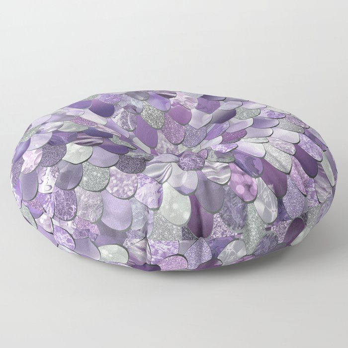 Mermaid Purple and Silver Floor Pillow