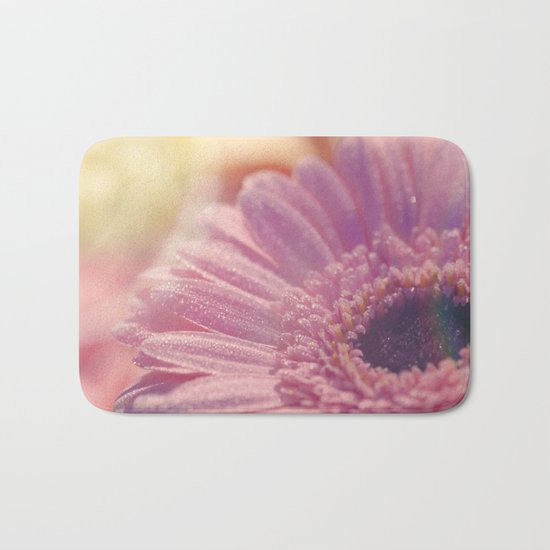 Pink Gerbera Daisy Flower with sparkling waterdrops #Society6 Bath Mat