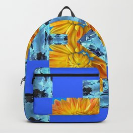 AQUA GEMS & GOLDEN FLOWER PATTERNS ON BLUE ART Backpack