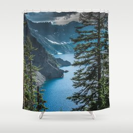 Blue Crater Lake Oregon in Summer Shower Curtain