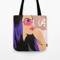 aaliyah Tote Bags featuring Aaliyah w/Mocha sky  by NelxArt