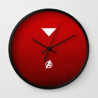 iron maiden Wall Clocks featuring Iron by El Pigro
