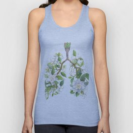 Floral Lungs Anatomy with Flowers, Breathing Gardenia Unisex Tank Top