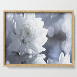 White flower with bokeh on a grey background included wonderful light Serving Tray