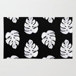 Linocut sketchy monstera leaf black and white tropical pattern print home decor nursery patterns Rug