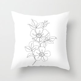 Floral one line drawing - Rose Throw Pillow
