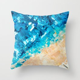 Deep | Abstract blue turquoise ocean beach acrylic brushstrokes painting Throw Pillow