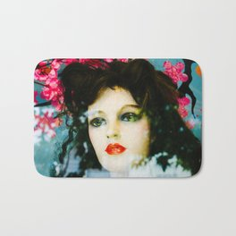 Female Mannequin with Cherry Blossoms Bath Mat