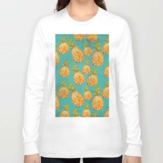 Summer pineapple fruit holiday fun pattern Long Sleeve T-shirt
