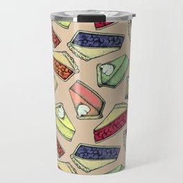 Easy As Pie - cute hand drawn illustrations of pie on neutral tan Travel Mug