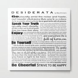 Desiderata - Black and White Metal Print