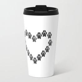 Paw Prints Heart Travel Mug