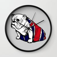 british flag Wall Clocks featuring British Bulldog by Pancho the Macho