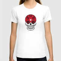indonesia T-shirts featuring Sugar Skull with Roses and Flag of Indonesia by Jeff Bartels