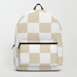Brown, Beige: Checkered Pattern Backpack