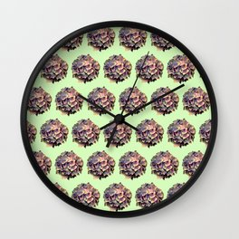 pink and blue hydrangeas on pastel green Wall Clock