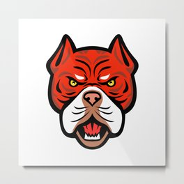 Red Tiger Bulldog Head Front Mascot Metal Print