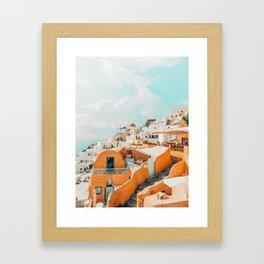 Santorini #travel #greece Framed Art Print