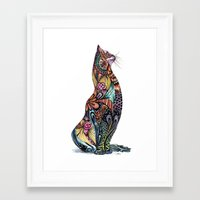 tatoo Framed Art Prints featuring Tatoo cat by Annie Liu
