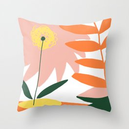 Summer Blossom, Abstract Shapes Minimal Drawing, Modern Bright Rustic Painting Throw Pillow