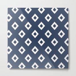 Festive, Boho, Geometric, Diamond, Pattern, Blue and White Metal Print