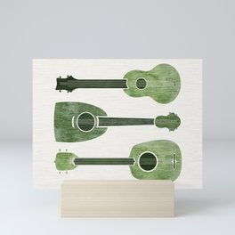 Hawaiian Ukuleles - Emerald Green Mini Art Print