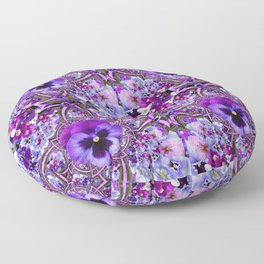 AWESOME GEOMETRIC LILAC PURPLE PANSIES GARDEN ART Floor Pillow