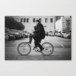 Brothers biking  Canvas Print