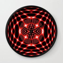 Neon red glob fractal Wall Clock