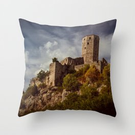 An old abandoned castle Throw Pillow
