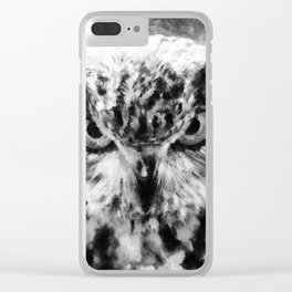 owl look digital painting orcbw Clear iPhone Case
